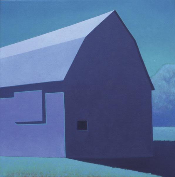 Moonlit Barn, oil, 24 x 24.