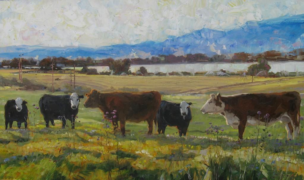 Robert Moore, Cattle, oil, 36 x 60.