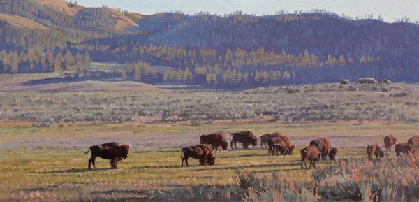 Jay Moore, Quiet Evening, Lamar Valley, oil painting