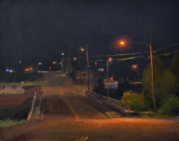 Jason Sacran, Moraine Avenue, 11 p.m., oil, 12 x 16.
