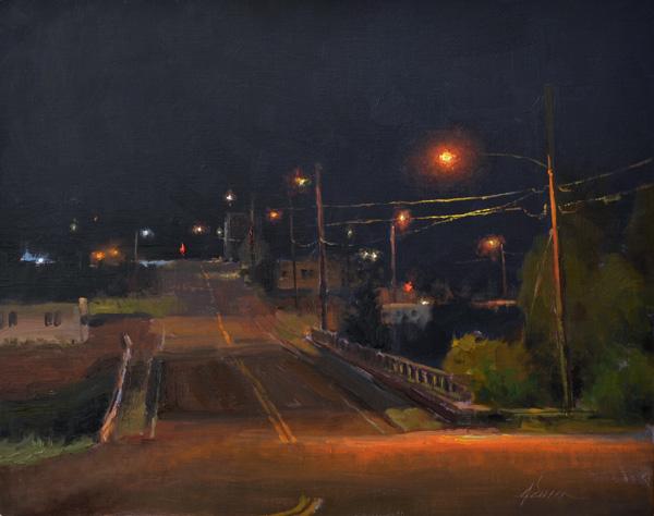 Jason Sacran, Moraine Avenue, 11 p.m., oil, 12 x 16.