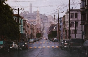 Greg Gandy, Morning Rain in North Beach, oil, 24 x 36.