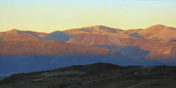 Brett Scheifflee, Morning in the Mountains, oil, 10 x 20.
