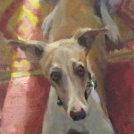 E. Melinda Morrison, Did Someone Say Walk?, oil, 16 x 9.