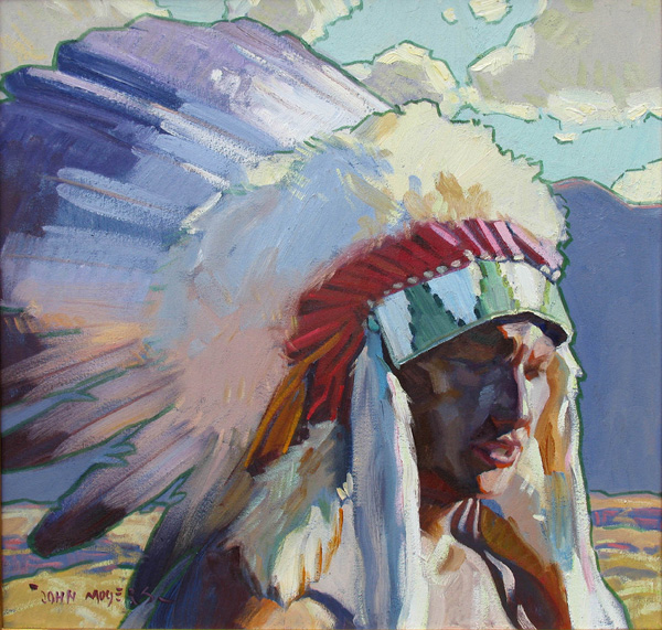 John Moyers, Sioux Man, oil, 20 x 20, Nedra Matteucci Galleries.