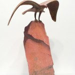 Gwynn Murrill, Flying Eagle Maquette, bronze/pink sandstone, 18 x 11 x 8.