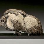 Pete Zaluzec | Musk Ox, river stone/bronze, 15 x 9 x 6.
