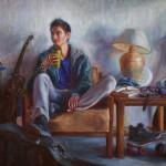 Samuel Enriquez, My Organized Mess (Self-Portrait), oil, 24 x 30.