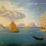 Vladimir Kush, Mythology of the Oceans and Heavens, oil, 39 x 99.