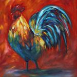 Krista Schumacher, Raging Rooster, oil, 24 x 20.