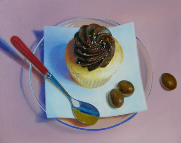 Najin Bae, Cupcake, oil, 16 x 20.