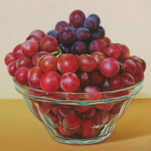 Najin Bae, Bunch of Grapes, oil, 16 x 16.