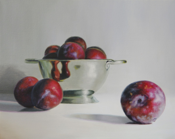 Najin Bae, Plums, oil, 16 x 20.