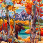 Nancy Dunlop Cawdrey, Color Me Moose, dye on silk, 20 x 16.