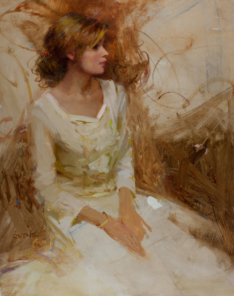 Nancy Guzik, Samantha in White, oil, 14 x 11.
