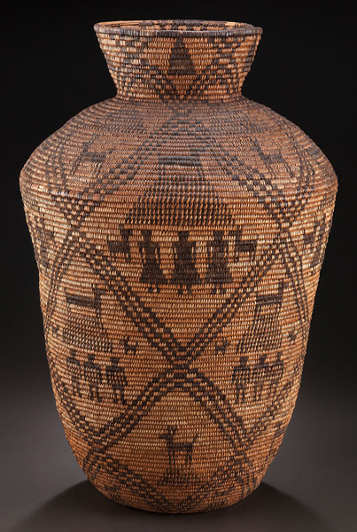 An Apache Pictorial Coiled Storage Jar, 25h.
