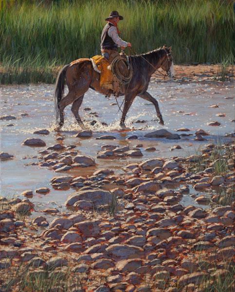 Nathan Solano, Splash on the Rocks, oil, 24 x 30.