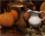 Nathaniel Skousen, Pumpkins and Brass, oil, 8 x 10.