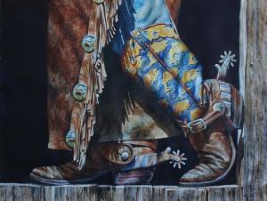 Nelson Boren, Going Fish'n Cowboy Style, watercolor, 45 x 45.