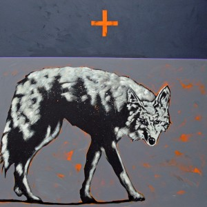 Nocona Burgess, Sunrise Coyote, acrylic, 48 x 48.