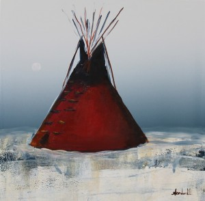 Raymond Nordwall, Medicine Man's Lodge, oil, 12 x 12.