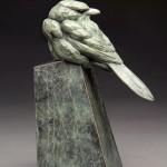 Pete Zaluzec | Northern Shrike, bronze, 11 x 6 x 4.