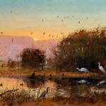 Tom Perkinson, November at Bosque del Apache, watercolor/mixed media, 10 x 20.