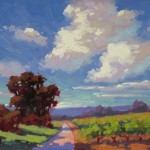 Sally O'Neill, Vineyard & Blue Sky, oil, 11 x 14, Haystack Gallery.