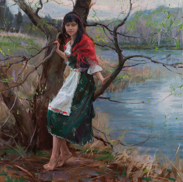 Daniel Gerhartz, Of New Glarus, oil, 36 x 36.