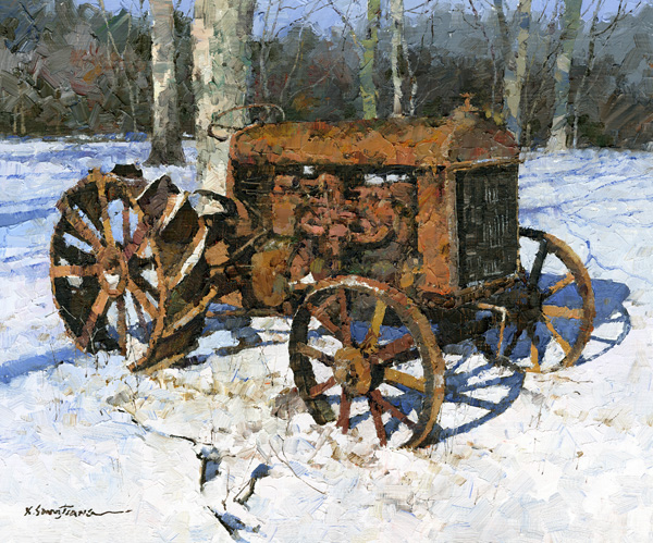 Xiao Song Jiang, Old Tractor, oil, 10 x 12.