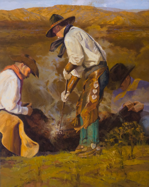 David Griffin, Old School Teamwork, oil, 30 x 24.