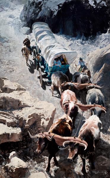 Oleg Stavrowsky, Scorpion Pass, acrylic, 36 x 58.