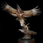 Ed Natiya, On the Wings of Eagles, bronze, 24 x 18 x 9.