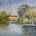 Dean Aizawa, Orange Roof, watercolor, 12 x 16.
