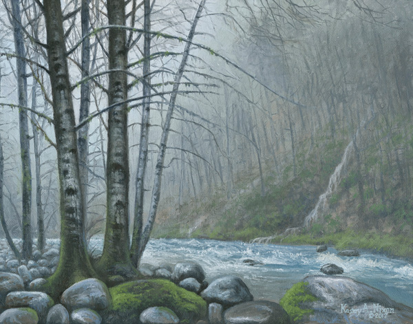 Kasey Nixon, Oregon Coastal River, oil, 11 x 14.