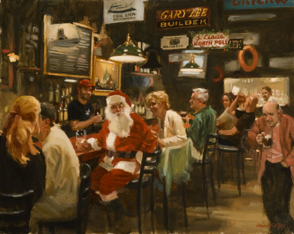 Other Christmas card (Santa at the Land Ho), oil, 16 x 20.