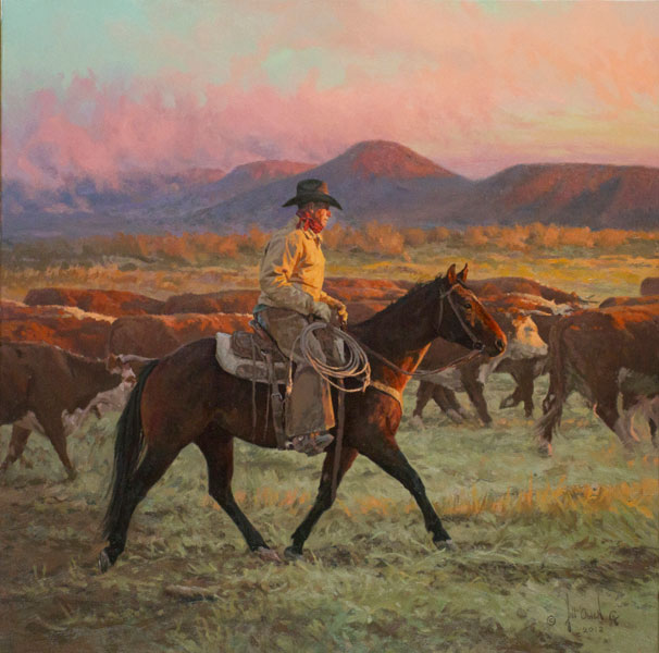 "Bill Owen, Into the Sun, 26"" x 26"", Oil on canvas"