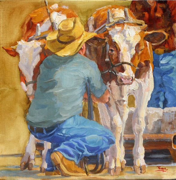 Sally Fuess, Oxen Kindergarten, oil, 12 x 12.