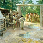John Clymer, Visitors at Fort Clatsop, oil, 24 x 48.