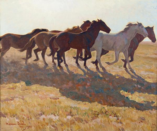 Maynard Dixon, Remuda, oil, 25 x 30.