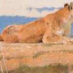 Bob Kuhn, Lookout Rock—Cougar, acrylic, 8 x 14.