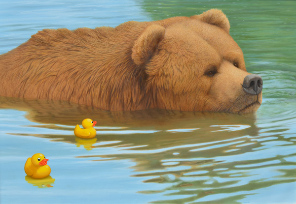 Tom Palmore, Bear & Rubber Duckies, oil/acrylic, 42 x 60.