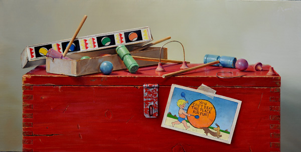 Pamela Carroll , Game Box, oil, 24 x 12.