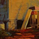Pamela Hetherly, Backyard, oil, 9 x 12.