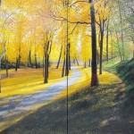 David Bottini, Park Side Afternoon, Late October, diptych, acrylic, 60 x 72.