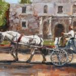 Lindsey Bittner Graham, Passing the Alamo, oil, 9 x 12.