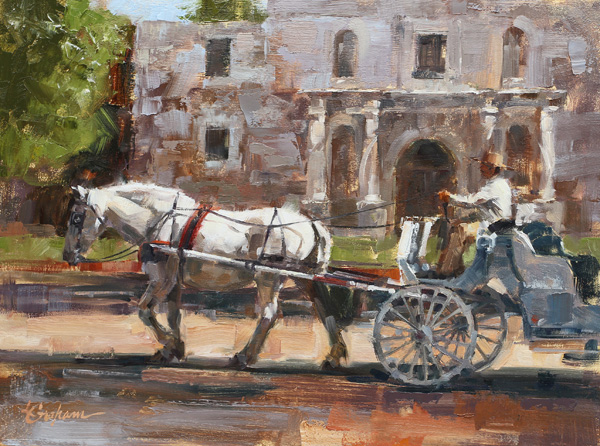 Lindsey Bittner Graham, Passing the Alamo, oil, 9 x 12.