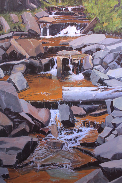 Patrick Duke, Quiet Cascade, oil, 36 x 24.