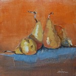 Pat Huber, Four Pears, oil, 12 x 12.