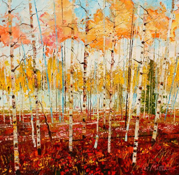Pat Matthews, Crimson Symphony, oil, 30 x 30.